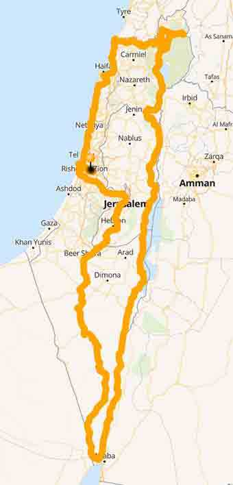 Map Israel by motorcycle where history, religion and nature meet