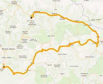 Map Great Dolomites Route, a legendary motorcycle road in Italy