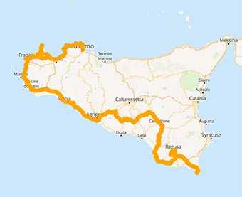 Map Sicily motorcycle ride on the southern coast of the island
