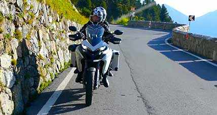 A motorcycle tour in the Italian Alps crossing Gavia Pass