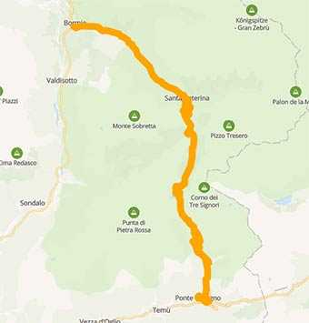 Map A motorcycle tour in the Italian Alps crossing Gavia Pass