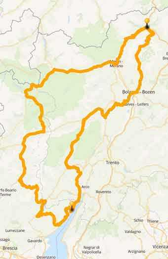 Map Stelvio pass, Strada della Forra road, and Lake Garda Tour