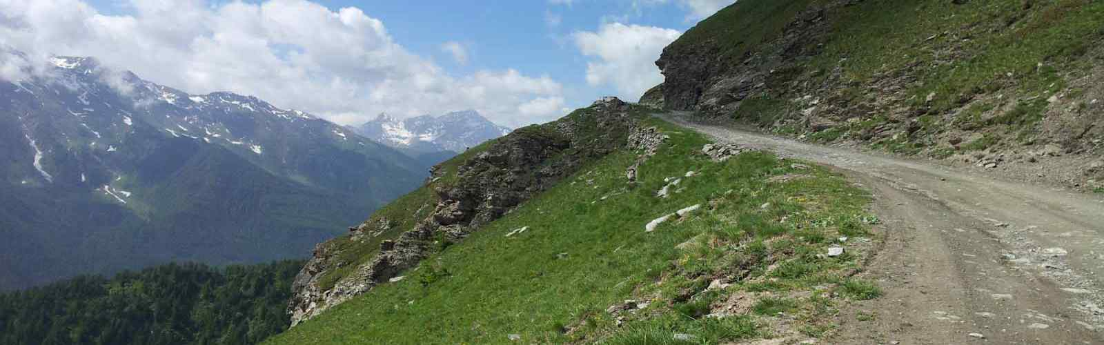 Motorcycle tour on the unpaved road in Susa Valley, Piedmont