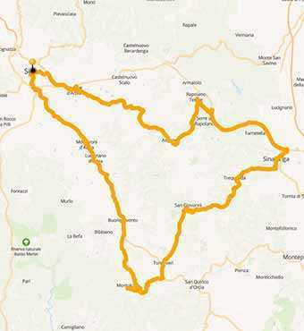 Map A motorcycle ride in the singular Crete of Siena, Tuscany