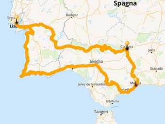 Map A riding tour from Algarve, Portugal to Andalusia in Spain