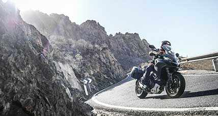 Motorcycle ride crossing all the Dolomite mountain groups