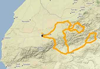 Map Morocco, an exciting motorcycle trip riding on dirt roads