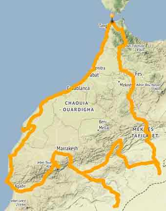 Map A motorcycle ride in Morocco to discover hidden treasures